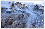 Mineral Terraces at Mammoth Hot Spring just before dawn, Yellowstone National Park, Wyoming, USA