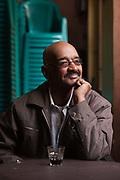Novelist Makkawi Said at the Zahrat al-Bustan cafe, Cairo, Egypt