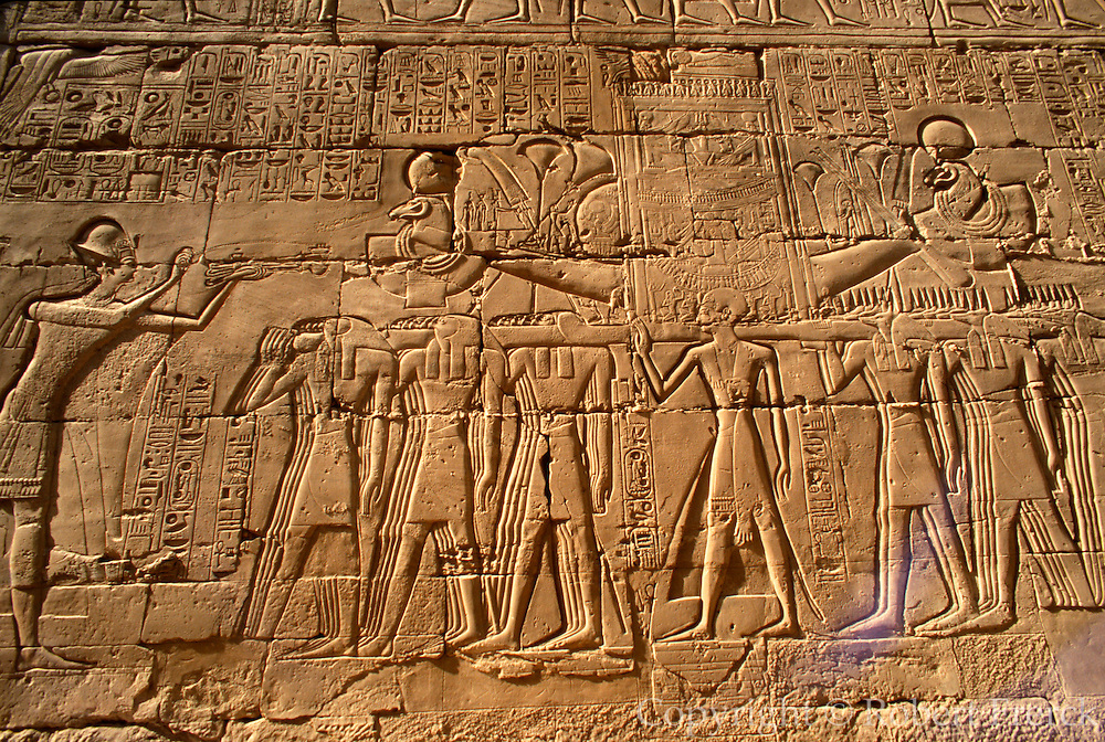 EGYPT, THEBES, KARNAK TEMPLE Ramses II offers incense to Amun