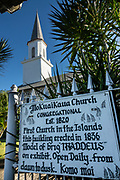 Mokuaikaua Church, in Kailua-Kona on the Big Island of Hawaii, is the oldest Christian church in the Hawaiian Islands. The congregation dates to 1820 and the building was completed in 1837. Before it was made a state of the USA in 1959, Hawaii was previously an 1810 kingdom, 1893 protectorate, 1894 republic, and 1898 territory.