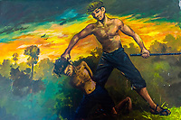 A painting portrays torture by the Khmer Rouge, Choeung Ek, the site of a former orchard and mass grave of victims of the Khmer Rouge - killed between 1975 and 1979 - about 17 kilometres (11 mi) south of Phnom Penh, Cambodia, is the best-known of the sites known as The Killing Fields, where the Khmer Rouge regime executed over one million people between 1975 and 1979. Over 17,000 people were brought here to be killed and buried in mass graves. The memorial here displays over 5,000 skulls from the graves.