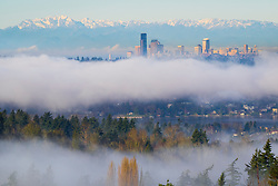 North America, United States, Washington. Lake Washington, Seattle skyline and Olympic mountains viewed from Bellevue on a foggy day.