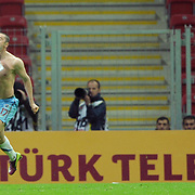 Trabzonspor's Burak YILMAZ celebrate his goal during their Turkish superleague soccer derby match Galatasaray between Trabzonspor at the TT Arena in Istanbul Turkey on Sunday, 10 April 2011. Photo by TURKPIX