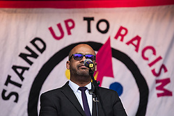 London, UK. 16th March, 2019. Maswood Ahmed, Assistant General Secretary of the Muslim Council of Britain, addresses thousands of people on the March Against Racism demonstration on UN Anti-Racism Day against a background of increasing far-right activism around the world and a terror attack yesterday on two mosques in New Zealand by a far-right extremist which left 49 people dead and another 48 injured.