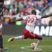 Bradley Wright-Phillips, New York Red Bulls, shoots  during the New York Red Bulls Vs New England Revolution, MLS Eastern Conference Final, first leg at Red Bull Arena, Harrison, New Jersey. USA. 23rd November 2014. Photo Tim Clayton