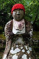 Jizo images and statues are popular in Japan as Bodhisattva who console beings awaiting rebirth as well as comfort for travelers. As such they are often found along roadsides, paths or even street corners. This jizo is found at Enkoji a Shingon Buddhist temple, number 39 on the Shikoku 88 Temple Pilgrimage famous for its pond garden. It is allso famous for its spring that is said to be beneficial to those with eye afflictions.