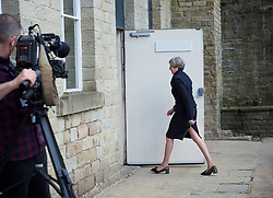 Theresa May <br /> Leader of the Conservatives <br /> launches The Conservative Party manifesto in Halifax, West Yorkshire, Great Britain <br /> 18th May 2017 <br /> <br /> General Election '17 <br /> Campaign event <br /> <br /> <br /> arriving <br /> <br /> <br /> <br /> Photograph by Elliott Franks <br /> Image licensed to Elliott Franks Photography Services