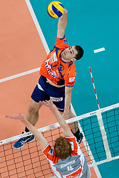 Andrej Flajs #1 of ACH Volley during volleyball match between ACH Volley (SLO) and Euphony Asse-Lennik (BEL) in 3rd Leg of Pool D of 2013 CEV Champions League on November 14, 2012 in Arena Stozice, Ljubljana, Slovenia. (Photo By Urban Urbanc / Sportida)