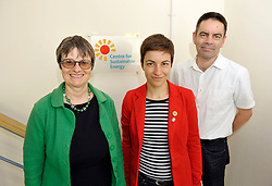 © Licensed to London News Pictures. 12/05/2014; Bristol, UK.  Ska Keller (red jacket), German Green MEP and Presidential candidate for the EU Commission, on a visit to Bristol to meet Green Party members campaigning in the European elections.  Pictured here visiting the Centre for Sustainable Energy with Molly Scott Cato (left) Green MEP candidate for south west England, and Simon Roberts (right) CEO of the Centre for Sustainable Energy.<br /> Photo credit: Simon Chapman/LNP