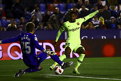 January 10, 2019 - Valencia, Spain - Levante's goalkeeper Aitor Fernandez   (L) and NELSON SEMEDO of FC Barcelona  during  spanish King Cup  match between Levante UD v FC Barcelona  at Ciutat de Valencia  Stadium on January  10, 2018. (Photo by Jose Miguel Fernandez/NurPhoto) (Credit Image: © Jose Miguel Fernandez/NurPhoto via ZUMA Press)