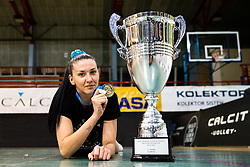 Andjelka Radiskovic of Calcit Volley with medal and trophy after 3rd Leg Volleyball match between Calcit Volley and Nova KBM Maribor in Final of 1. DOL League 2020/21, on April 17, 2021 in Sportna dvorana, Kamnik, Slovenia. Photo by Matic Klansek Velej / Sportida