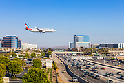 American Airlines Flying Over 405 Freeway In Irvine