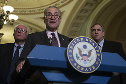 October 3, 2017 - Washington, District Of Columbia, USA - Senate Minority Leader Senator CHARLES SCHUMER (D-NY) speaks with reporters during a press conference following a Senate Democratic Caucus lunch on Capitol Hill. (Credit Image: © Alex Edelman via ZUMA Wire)