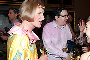 GRAYSON PERRY; MARK WALLINGER, Tate Britain Summer party. Tate. Millbank. 27 June 2011. <br /> <br />  , -DO NOT ARCHIVE-© Copyright Photograph by Dafydd Jones. 248 Clapham Rd. London SW9 0PZ. Tel 0207 820 0771. www.dafjones.com.