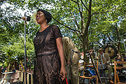 Queen Esther, librettist and co-star of the Billie Holiday Project, sings for the crowd.