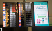 Electronic flight departure notice board at Gatwick airport, London, England
