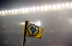 """A Wolverhampton Wanderers corner flag during the Sky Bet Championship match at Molineux, Wolverhampton. PRESS ASSOCIATION Photo. Picture date: Wednesday April 11, 2018. See PA story SOCCER Wolves. Photo credit should read: Nick Potts/PA Wire. RESTRICTIONS: EDITORIAL USE ONLY No use with unauthorised audio, video, data, fixture lists, club/league logos or """"live"""" services. Online in-match use limited to 75 images, no video emulation. No use in betting, games or single club/league/player publications."""