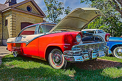 01 August 2015:  1956 Ford Crown Victoria David & Roberta Bean<br /> <br /> Displayed at the McLean County Antique Automobile Association Car show at David Davis Mansion in Bloomington Illinois<br /> <br /> This image was produced in part utilizing High Dynamic Range (HDR) processes.  It should not be used editorially without being listed as an illustration or with a disclaimer.  It may or may not be an accurate representation of the scene as originally photographed and the finished image is the creation of the photographer.