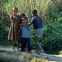 Asia, Nepal, Bardia. Local kids of the Tharu village of Bardia.
