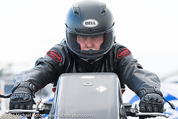 Drag racer Jim Martin at the Sturgis Dragway during the annual Sturgis Black Hills Motorcycle Rally.  SD, USA. Sunday, August 7, 2016.  Photography ©2016 Michael Lichter.