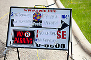 Warning sign at Paisley Park's adjacent business to not fill their parking lot or trespass.  Studios Chanhassen Minnesota MN USA