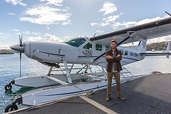 AU_1637458 - Sydney, AUSTRALIA  -  Chris Hemsworth Launches TAG Heuer Autavia Collection with a Seaplane at Rose Bay<br />