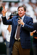 SHOT 1/28/12 3:58:33 PM - Newly named Colorado State University head football coach Jim McElwain speaks to the crowd at halftime against San Diego State during their regular season Mountain West conference basketball game at Moby Arena in Fort Collins, Co. Colorado State upset 12th ranked San Diego State 77-60. McElwain was the Alabama offensive coordinator. (Photo by Marc Piscotty / © 2012)