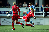 Photo: Marc Atkins.<br /> <br /> Rushden & Diamonds v Wycombe Wanderers. Coca Cola League 2. 22/04/2006. Roger Johnson of Wycombe is beaten to the ball.