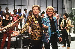 File photo : File photo of French singer and actor Johnny Hallyday (born Jean-Philippe Smet; 15 June 1943, pictured with Eddy Mitchell. France's biggest rock star Johnny Hallyday has died from lung cancer, his wife says. He was 74. The singer - real name Jean-Philippe Smet - sold about 100 million records and starred in a number of films. Photo by Jean-Claude Roca-MF/ABACAPRESS.COM
