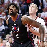 25 April 2016: Los Angeles Clippers center DeAndre Jordan (6) vies for the rebound with Portland Trail Blazers center Mason Plumlee (24) during the Portland Trail Blazers 98-84 victory over the Los Angeles Clippers, during Game Four of the Western Conference Quarterfinals of the NBA Playoffs at the Moda Center, Portland, Oregon, USA.