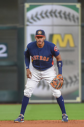 March 26, 2018 - Houston, TX, U.S. - HOUSTON, TX - MARCH 26: Houston Astros infielder Carlos Correa (1) stands ready at shortstop during the game between the Milwaukee Brewers and Houston Astros at Minute Maid Park on March 26, 2018 in Houston, Texas. (Photo by Ken Murray/Icon Sportswire) (Credit Image: © Ken Murray/Icon SMI via ZUMA Press)