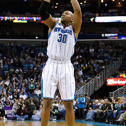January 19, 2011; New Orleans, LA, USA; New Orleans Hornets power forward David West (30) shoots against the Memphis Grizzlies during the third quarter at the New Orleans Arena. The Hornets defeated the Grizzlies 130-102 in overtime.  Mandatory Credit: Derick E. Hingle