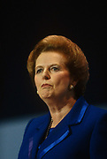 Margaret Thatcher gives her last speech as Prime Minister at the Tory conference, Blackpool before being deposed weeks later. Thatcher died on April 8th 2013 after suffering a stroke while staying in the Ritz Hotel, London.