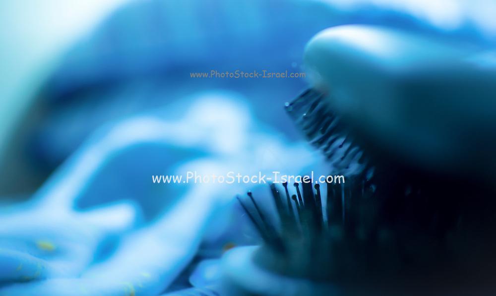 Blue soft focus hairbrush background