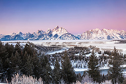 """Winter sunrise at the Snake River Overlook in Grand Teton National Park. A crisp -8 degree morning made this morning glow.<br /> <br /> For production prints or stock photos click the Purchase Print/License Photo Button in upper Right; for Fine Art """"Custom Prints"""" contact Daryl - 208-709-3250 or dh@greater-yellowstone.com"""