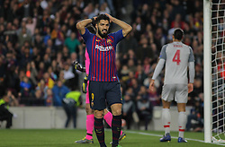 May 1, 2019 - Barcelona, Barcelona, Spain - Luis Suarez of Barcelona in action during UEFA Champions League football match, between Barcelona and Liverpool, May 01th, in Camp Nou stadium in Barcelona, Spain. (Credit Image: © AFP7 via ZUMA Wire)