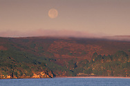 Full moon setting and fog at sunrise over land and calm water, Tomales Bay, Marin County, California