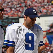 Dallas Cowboys quarterback Tony Romo (9) stands of the sidelines after cracking his ribs and puncturing his lung during an NFL football game between the Dallas Cowboys and the San Francisco 49ers at Candlestick Park on Sunday, Sept. 18, 2011 in San Francisco, CA.  (Photo/Alex Menendez)