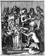 Ceremony of Circumcision. From Jan Leusden 'Philogus Hebraeo-Mixtus', Basel, 1739 (first edition 1663). Engraving.