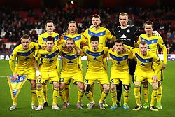 BATE Borisov Team Group.<br /><br />(Top Row L - R) FC BATE Borisov's Mirko Ivanic, Maksim Valadzko, Nemanja Milunovic, Goalkeeper Denis Scherbitski and Denis Polyakov.<br /><br /><br />(Bottom Row L - R) FC BATE Borisov's Vitali Rodionov, Aleksey Rios, Ihar Stasevich, Stanislav Dragun, Mikhail Gordeichuk and Evgeni Berezkin