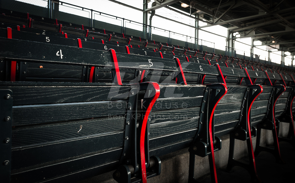 Old wooden seats in Fenway Park.  These are the oldest seats in Major League Baseball.