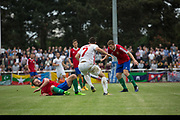 Yasin Kurt on the attack for Northern Cyprus. Karpatalya (RED) beat Northern Cyprus (WHITE) 3 -2 in penalties during the Conifa Paddy Power World Football Cup finals on the 9th June 2018 at Queen Elizabeth II Stadium in Enfield Town in the United Kingdom. Team mates from the Turkish Republic of Northern Cyprus  take on the Hungarians in Ukraine for the CONIFA World Football Cup final. CONIFA is an international football tournament organised by CONIFA, an umbrella association for states, minorities, stateless peoples and regions unaffiliated with FIFA. (photo by Sam Mellish / In Pictures via Getty Images)