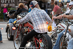 Riding Main Street during Daytona Beach Bike Week, FL. USA. Sunday, March 10, 2019. Photography ©2019 Michael Lichter.