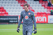 Stevenage goalkeeper David Stockdale looks frustrated after conceding two goals during the EFL Sky Bet League 2 match between Stevenage and Morecambe at the Lamex Stadium, Stevenage, England on 6 February 2021.