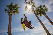 Glass fibre orangutang in the Coconut Creek Family Fun Park on 6th March 2020 in Panama City, Florida, United States. With an average of 320 days of Florida sunshine each year – and 27 miles of sugar-white sands bordering the clear, emerald green waters where the Gulf of Mexico and St. Andrew Bay converge – Panama City Beach is a favourite of travellers seeking an affordable beach vacation with year round offerings.