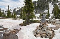 Trail marker cairn on Lostine River Trail Eagle Cap Wilderness Oregon