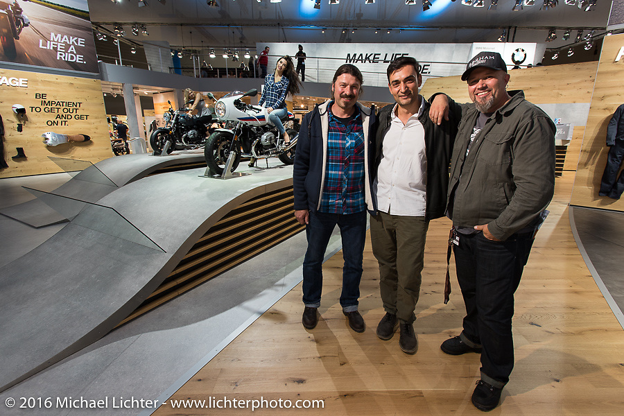 Roland Stocker, Thrass Papadimitriou and Ola Stenegard from BMW's Design team in Munich at the Intermot Motorcycle Trade Fair. Cologne, Germany. Wednesday October 5, 2016. Photography ©2016 Michael Lichter.