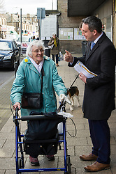 Pictured: Alex Cole-Hamilton met some voters today<br /> <br /> Liberal Democrat leader Willie Rennie was in campaign mode when in Edinburgh Western ahead of the second TV leaders' debate. Mr Rennie joined volunteers at a street stand outside the local campaign office in Corstorphine with local candidate Alex Cole-Hamilton. <br /> <br /> Ger Harley | EEm 29 March 2016