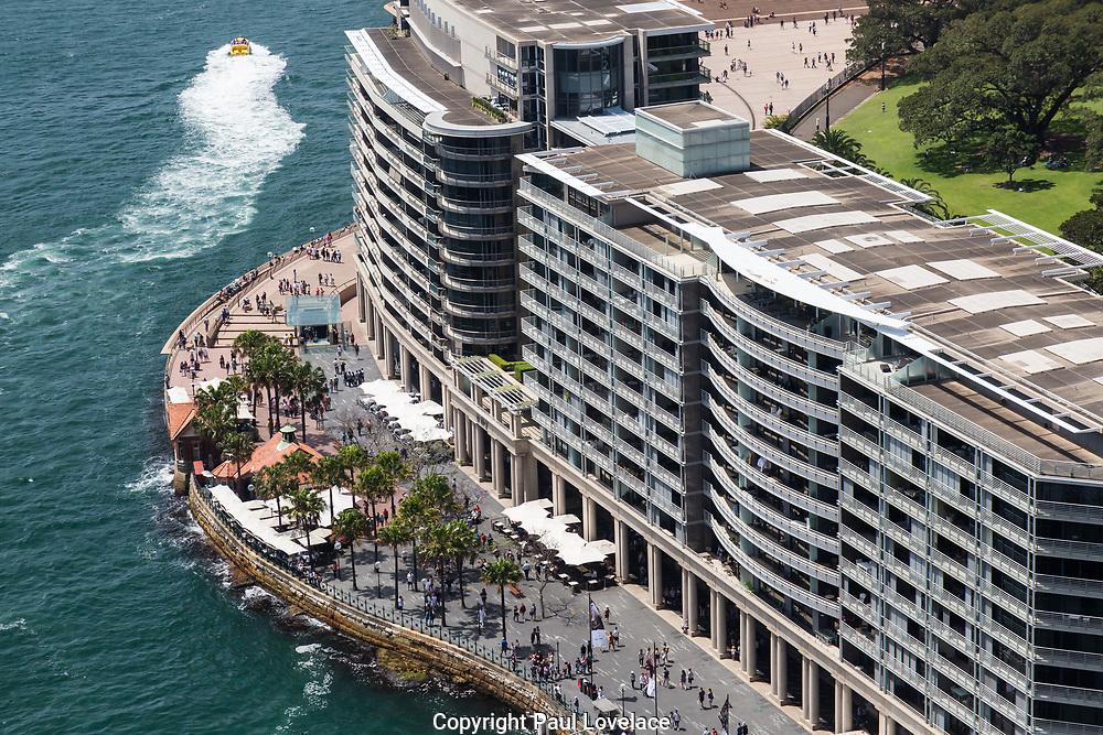 Open Sydney presented by Sydney Living Museuems. This event every year allows Sydneysiders to visit 40 of the city's most significant buildings and spaces across the CBD. Views of Bennelong Apartments from the rooftop of AMP Building, Sydney.