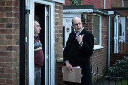 © Licensed to London News Pictures . 17/11/2014 . Kent , UK . UKIP candidate Mark Reckless (right) canvassing votes in Strood in the Rochester and Strood by-election . They meet Fatima Macaulay (right) who says she's voting UKIP . Photo credit : Joel Goodman/LNP
